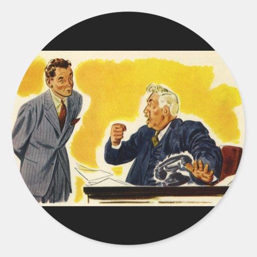 Negocio del vintage, empleado enojado del CEO Boss Pegatina Redonda