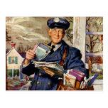 Negocio del vintage, entrega del cartero del carte tarjetas postales