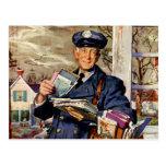 Negocio del vintage, entrega del cartero del carte tarjeta postal