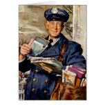 Negocio del vintage, entrega del cartero del tarjeta
