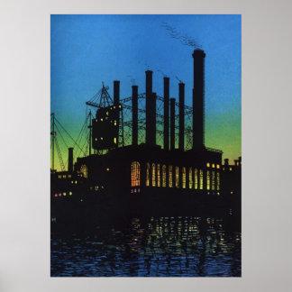 Negocio del vintage, fábrica de fabricación en la póster