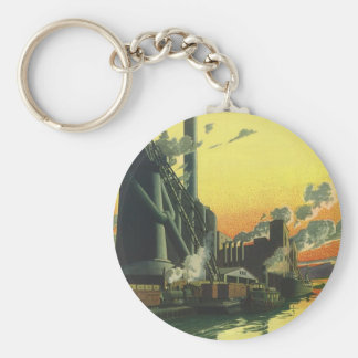 Negocio del vintage, fábrica de fabricación en un llavero redondo tipo pin