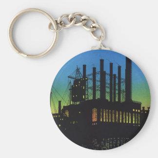 Negocio del vintage, fábrica en la puesta del sol llavero redondo tipo chapa