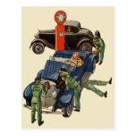 Negocio del vintage, gasolinera del servicio compl tarjeta postal