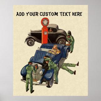 Negocio del vintage, gasolinera del servicio impresiones
