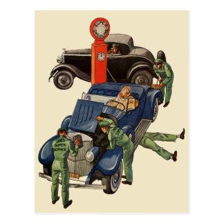 Negocio del vintage, gasolinera del servicio tarjeta postal