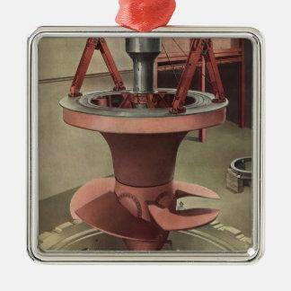 Negocio del vintage, generador con la turbina adorno navideño cuadrado de metal