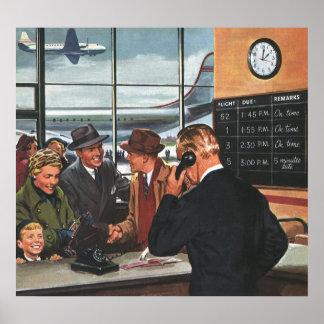 Negocio del vintage, gente en el contador de póster