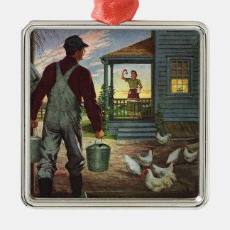 Negocio del vintage, granjero que trabaja en la adorno navideño cuadrado de metal