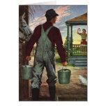 Negocio del vintage, granjero que trabaja en la felicitación