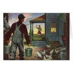 Negocio del vintage, granjero que trabaja en la tarjetón