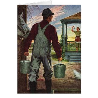 Negocio del vintage, granjero que trabaja en la tarjeta de felicitación