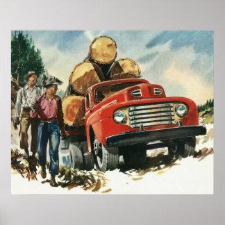 Negocio del vintage, leñadores con el camión de posters