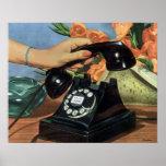 Negocio del vintage, mano de la mujer del teléfono poster