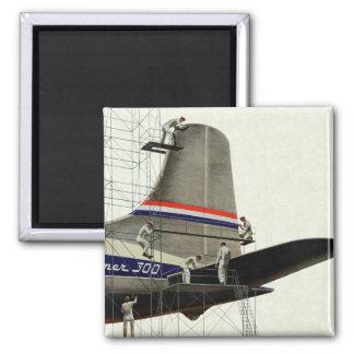 Negocio del vintage, mantenimiento del aeroplano imán cuadrado