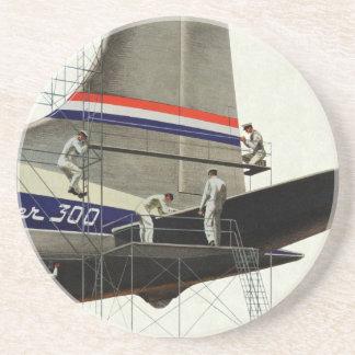 Negocio del vintage, mantenimiento del aeroplano posavasos diseño