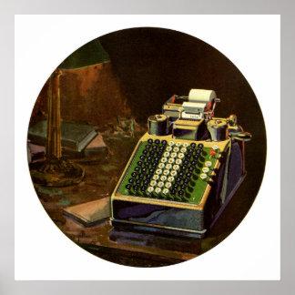 Negocio del vintage, máquina contable del contable póster