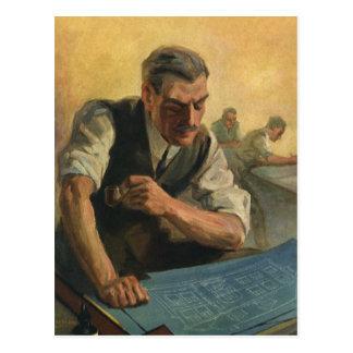 Negocio del vintage, modelos del edificio del tarjetas postales