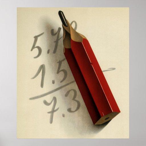 Negocio del vintage, números de la adición de la e posters
