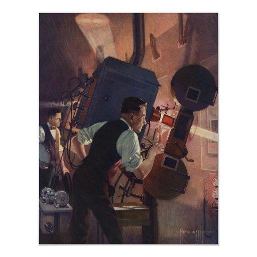 Negocio del vintage, operador de cámara en un cine anuncios