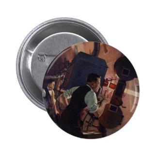 Negocio del vintage, operador de cámara en un cine pin redondo 5 cm