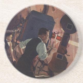 Negocio del vintage, operador de cámara en un cine posavasos de arenisca