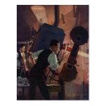 Negocio del vintage, operador de cámara en un cine postal