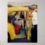Negocio del vintage, pasajero de la hembra del posters
