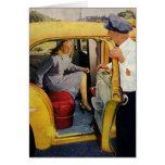 Negocio del vintage, pasajero de la hembra del tarjetón