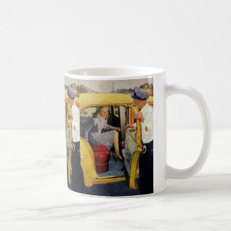 Negocio del vintage, pasajero de la mujer del taza de café