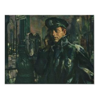 """Negocio del vintage, policía en el teléfono de la invitación 4.25"""" x 5.5"""""""