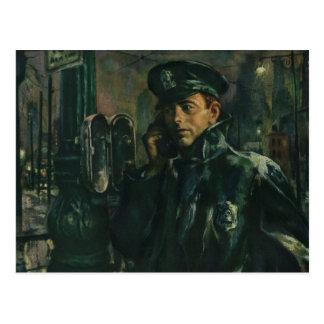 Negocio del vintage, policía en el teléfono de la postal