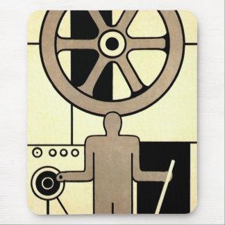 Negocio del vintage, ruedas del trabajador de la m alfombrillas de ratón