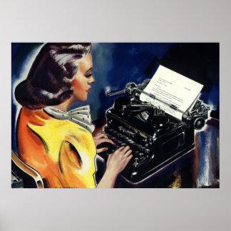 Negocio del vintage, secretaria Typing del Admin u Posters