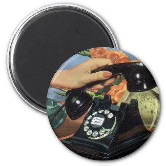 Negocio del vintage, teléfono antiguo del dial imán redondo 5 cm
