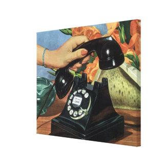 Negocio del vintage, teléfono antiguo del dial impresiones en lona estiradas