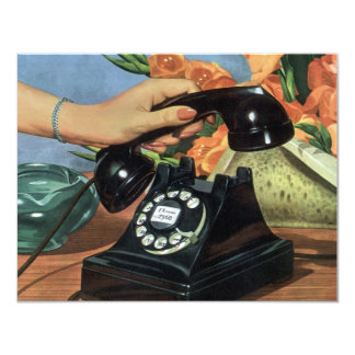 Negocio del vintage, teléfono antiguo del dial invitación 10,8 x 13,9 cm