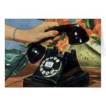 Negocio del vintage, teléfono antiguo del dial tarjeta de felicitación