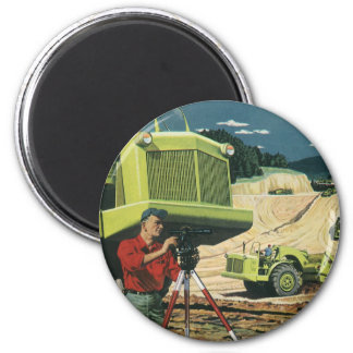 Negocio del vintage, topógrafo en un emplazamiento imán redondo 5 cm
