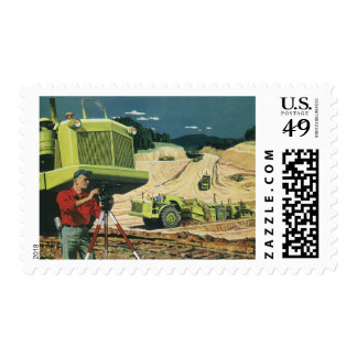 Negocio del vintage, topógrafo en un emplazamiento sello postal