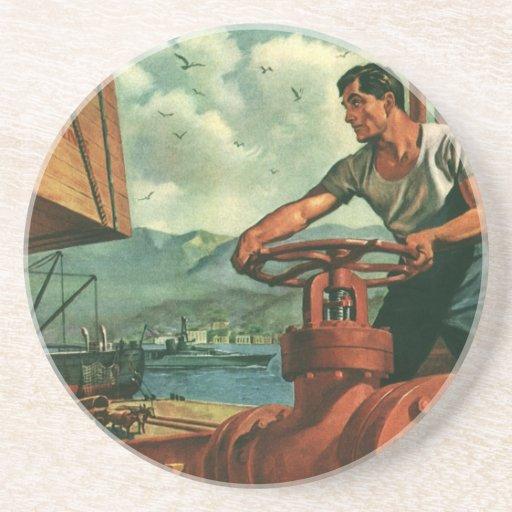 Negocio del vintage, trabajador de muelle que reap posavasos cerveza
