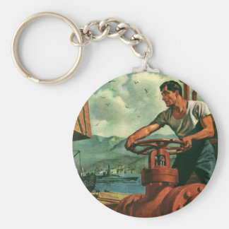 Negocio del vintage, trabajador de muelle y nave llavero redondo tipo pin