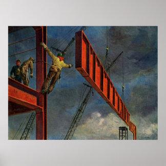 Negocio del vintage, trabajadores de construcción póster