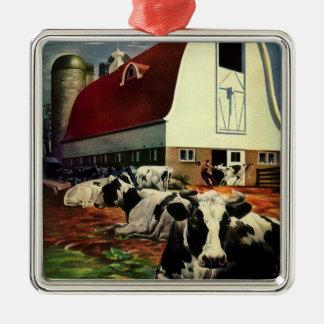 Negocio del vintage, vacas de leche de la granja adorno navideño cuadrado de metal