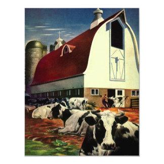 """Negocio del vintage, vacas de leche de la granja invitación 4.25"""" x 5.5"""""""