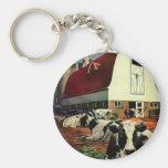 Negocio del vintage, vacas de leche de la granja l llaveros personalizados