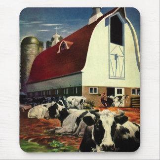 Negocio del vintage, vacas de leche de la granja l tapetes de raton