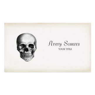 Negocio envejecido aguafuerte única del cráneo del tarjetas de visita