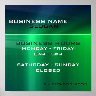 Negocio genérico - horas metálicas verdes brillant póster