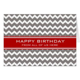Negocio gris rojo de Chevron del cumpleaños del Tarjeta De Felicitación